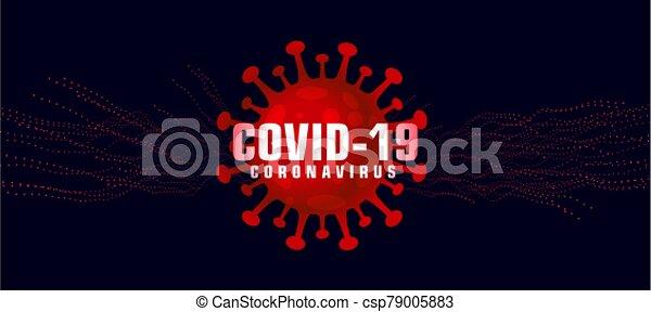 covid-19 coronavirus background with microscopic red virus - csp79005883