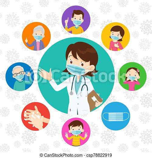 covid-19., medizin, schützend, doktor, familie, tragen, virus, maske - csp78822919