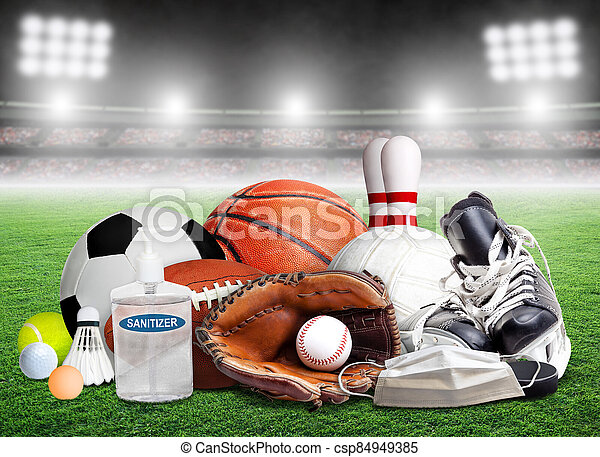 COVID-19 New Normal and Sports Concept With Stadium Background - csp84949385