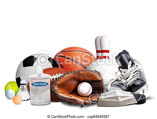 COVID-19 New Normal and Sports Concept Isolated on White Background - csp84949387