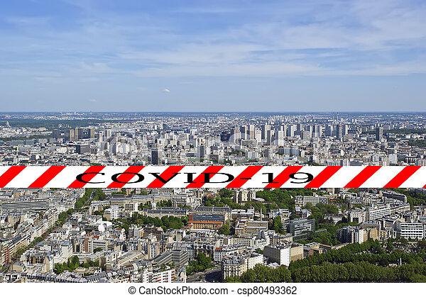 covid-19, ville, daytime., paris, concept, signe., voyage, covid, france., horizon, europe., coronavirus, pandémie - csp80493362