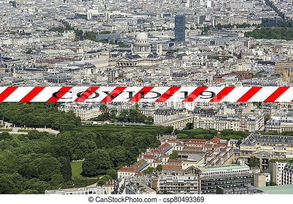 covid-19, ville, daytime., paris, concept, signe., voyage, covid, france., horizon, europe., coronavirus, pandémie - csp80493369