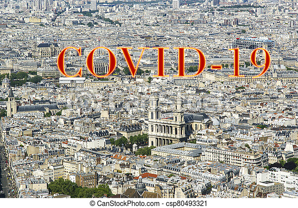 covid-19, ville, daytime., paris, concept, signe., voyage, covid, france., horizon, europe., coronavirus, pandémie - csp80493321