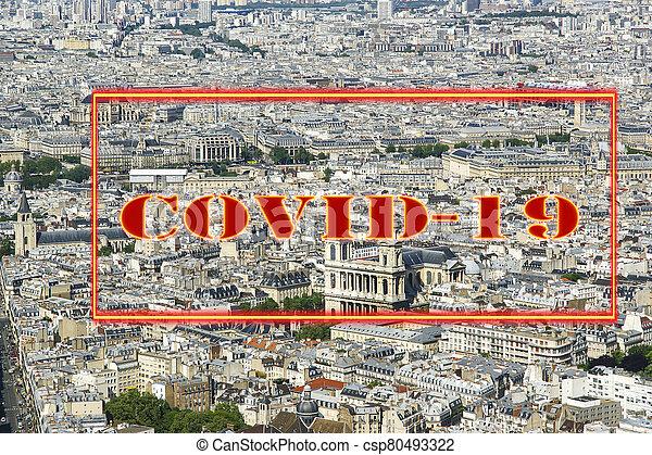 covid-19, ville, daytime., paris, concept, signe., voyage, covid, france., horizon, europe., coronavirus, pandémie - csp80493322