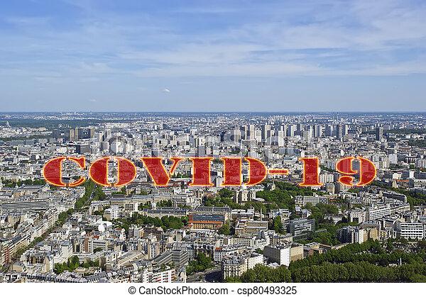 covid-19, ville, daytime., paris, concept, signe., voyage, covid, france., horizon, europe., coronavirus, pandémie - csp80493325