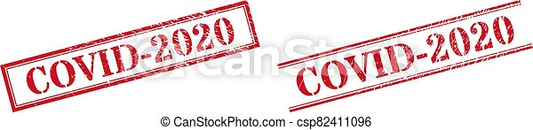 COVID-2020 Grunge Rubber Stamp Seals with Double Rectangle Frame - csp82411096