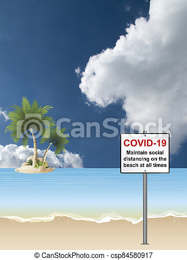 covid, señal, 19, playa, distancing - csp84580917