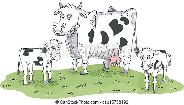 Cow And Calves Vector