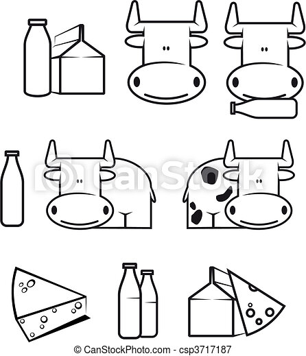 Cow And Dairy Food Set Of Cow And Dairy Food For Design