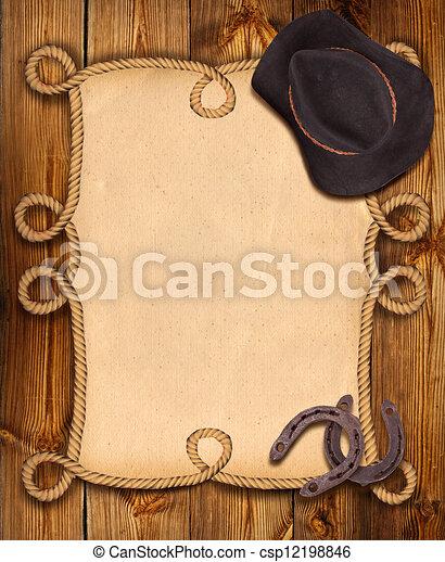 cow-boy, cadre, corde, occidental, fond, vêtements - csp12198846