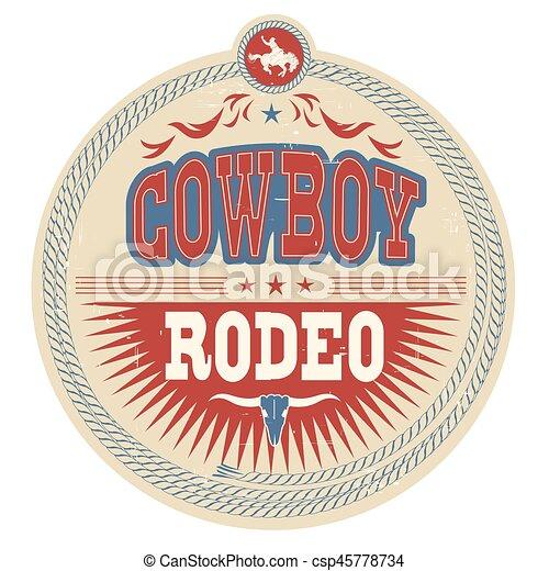 cow-boy, ouest, étiquette, décoration, rodéo, occidental, texte, sauvage - csp45778734