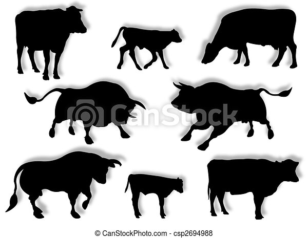 Cow Bull And Calf In Silhouette Stock Illustration