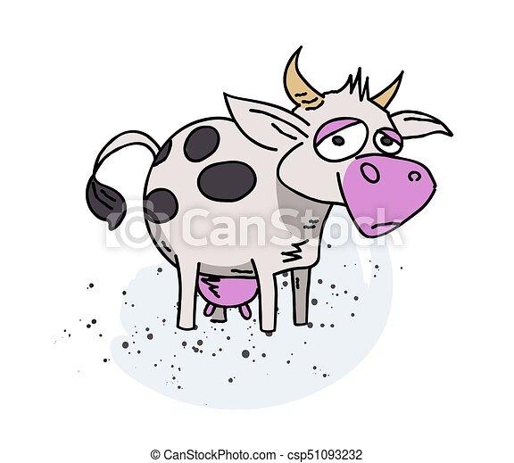 Cow cartoon hand drawn image - csp51093232