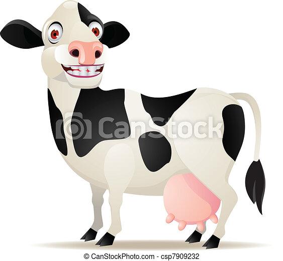 Cow cartoon smiling - csp7909232