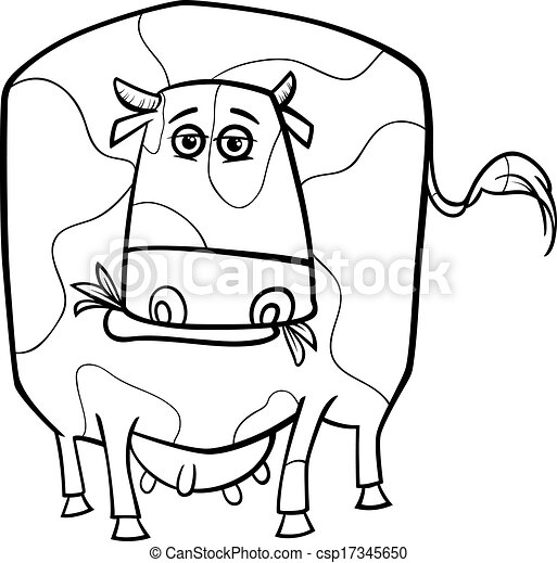 Cow Farm Animal Coloring Page Black And White Cartoon Illustration