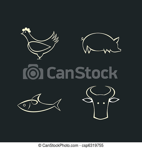 Cow, fish, chicken and pig  - csp6319755