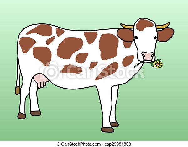 Cow grazing flower - csp29981868