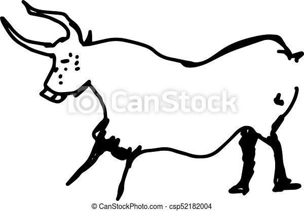 cow hand drawn doodle sketch with black lines vector illustration isolated on white background - csp52182004