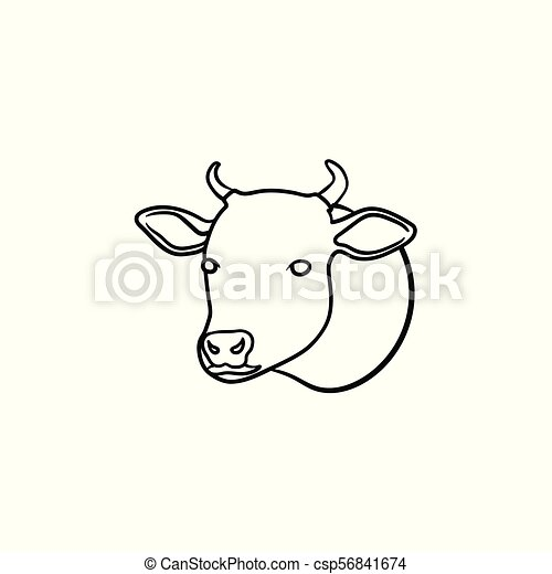 Cow head hand drawn sketch icon
