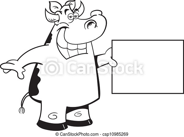 cow holding a sign - csp10985269