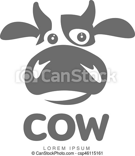 cow logo template funny cow head logo template funny smiling sad cow face for dairy products beef logo design of https www canstockphoto com cow logo template 46115161 html