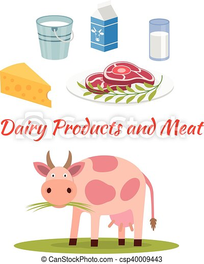 Cow - milk and meat products icons