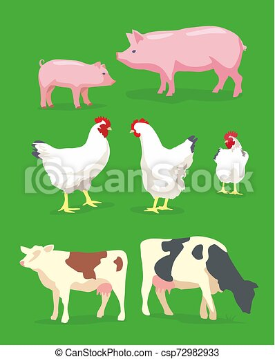 Cow, pig and chicken on green background. Vector flat illustration - csp72982933