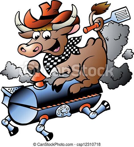 Cow riding a BBQ barrel - csp12310718