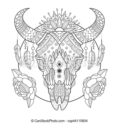 Cow skull coloring book vector illustration. anti-stress coloring ...