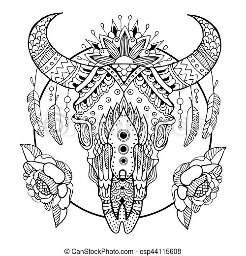 Cow Skull Coloring Book Vector Illustration
