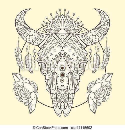 Cow Skull Hand Drawn Vector Illustration