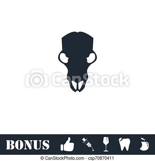 Cow skull icon flat - csp70870411