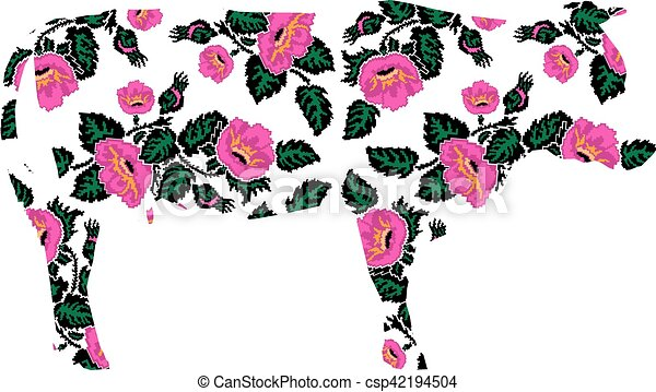 Line Drawing Flower Vector : Silhouette of cow with flowers. pink poppies. ukrainian vector