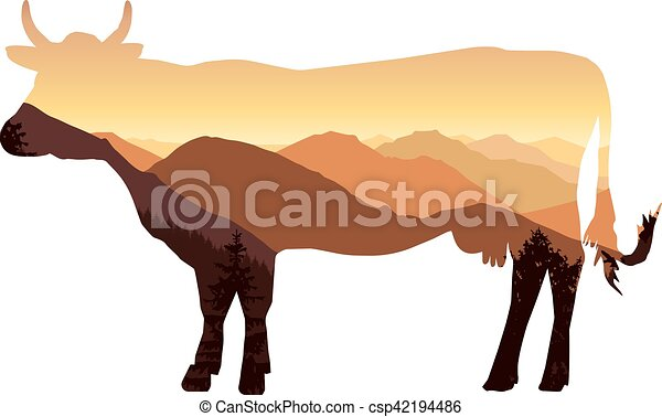 cow with mountain landscape - csp42194486