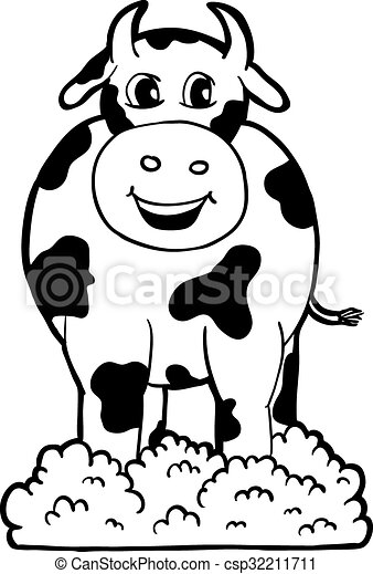 Cow with smile, vector illustration, coloring book.