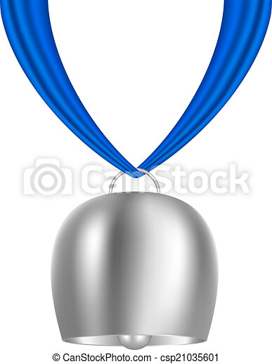 cowbell hanging on piece of cloth cowbell hanging on blue vector rh canstockphoto com MSU Cowbell MSU Cowbell