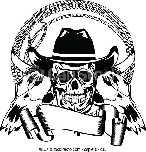 cowboy and skull bull - csp9187235