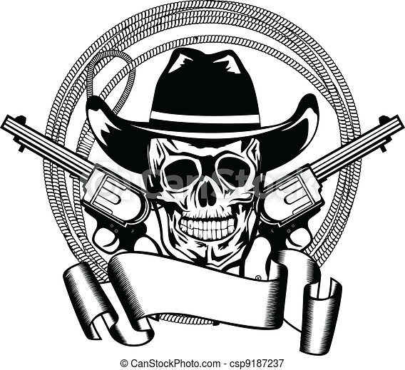 cowboy and two pistols - csp9187237