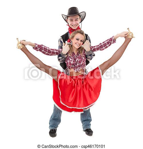 cowboy angezogene paar kostume tanzer kabarett csp46170101