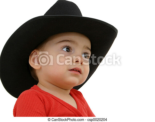Cowboy baby. Adorable toddler boy in red long-johns and a black ... cf7305c23a4