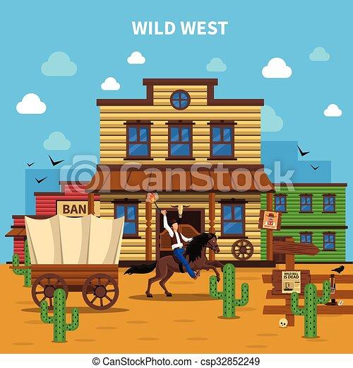 Cowboy Background Illustration - csp32852249