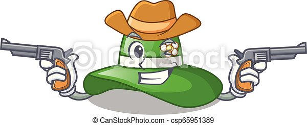 142b9ee91f4 Cowboy beach hat above wooden cartoon table