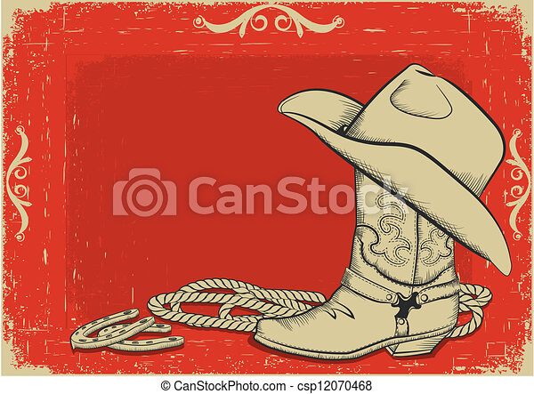 Western Horse Riding Clipart Cowboy boot and hat fo...