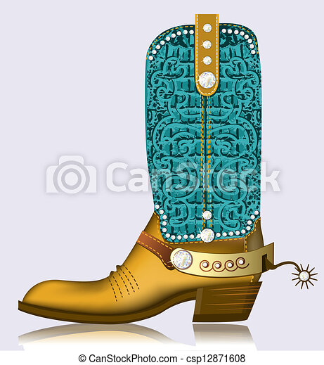 cowboy boot and spur.Luxury shoe with diamonds for design - csp12871608