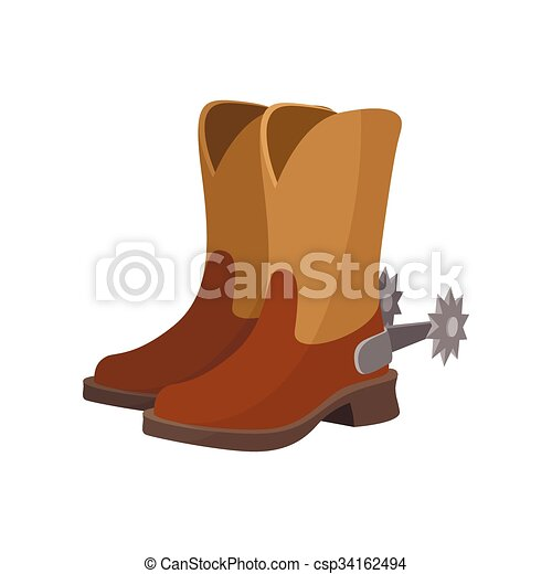 cowboy boot cartoon icon on a white background rh canstockphoto com cartoon cowboy boot round cake topper cartoon pictures of cowboy boots and hats