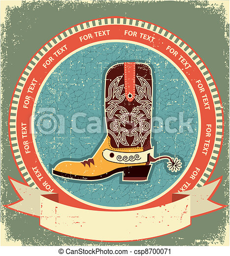 Cowboy boot label on old paper texture.Vintage style - csp8700071