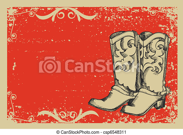 Cowboy boots .Vector graphic image with grunge background for text - csp6548311