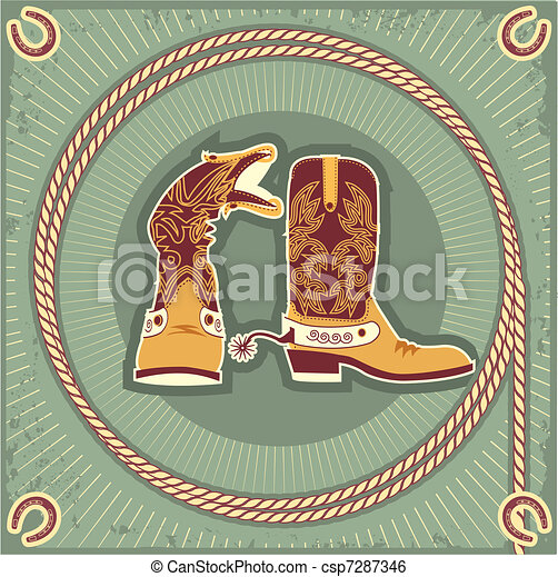 Cowboy boots.Vintage western decor background with rope and horseshoe - csp7287346