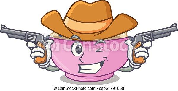 Cowboy character a bowl of oatmeal porridge - csp61791068
