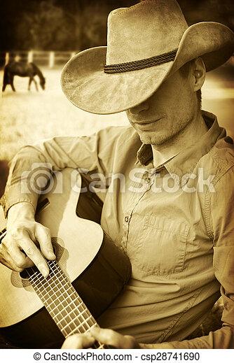 cowboy, chitarra, cappello occidentale, gioco, bello - csp28741690